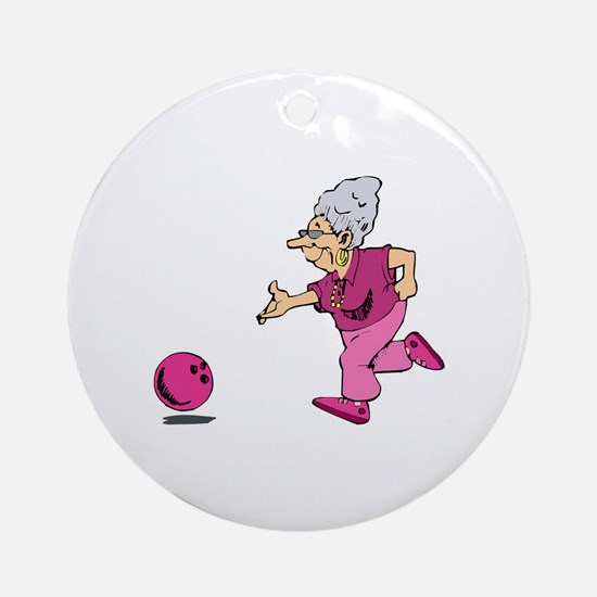 Bowling granny Ornament (Round)