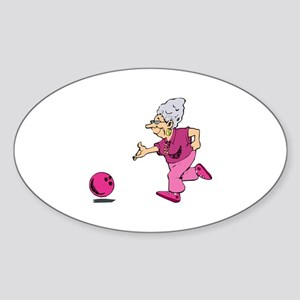 Bowling granny Oval Sticker