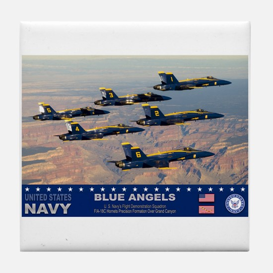 Blue Angel's F-18 Hornet Tile Coaster