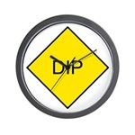 Yellow DIP sign - Wall Clock