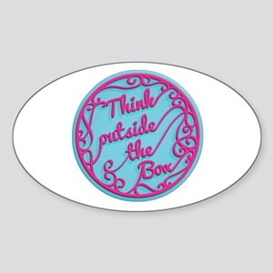 Ornate Circle Quote THINK OUTSIDE THE BOX Sticker