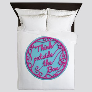 Ornate Circle Quote THINK OUTSIDE THE Queen Duvet