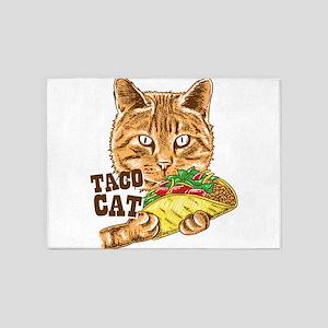 Taco Cat Favorite Food Adorable Ani 5'x7'Area Rug