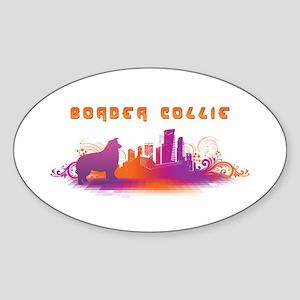 """City"" Border Collie Oval Sticker"