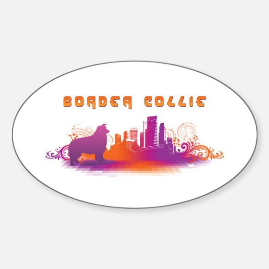"""""""City"""" Border Collie Oval Decal"""