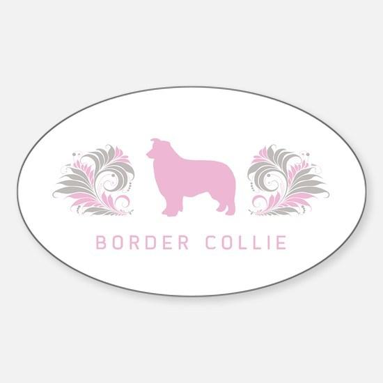 """Elegant"" Border Collie Oval Decal"