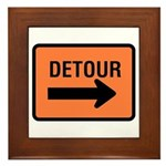 Detour Sign - Framed Tile