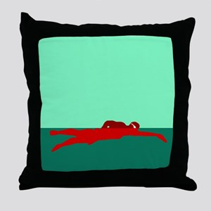 RED SWIMMER Throw Pillow