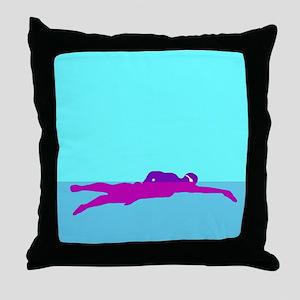 PURPLE SWIMMER Throw Pillow