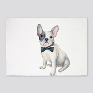 Frenchie French Bulldog black-bow-t 5'x7'Area Rug