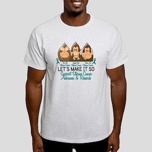 See Speak Hear No Uterine Cancer 2 Light T-Shirt