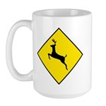 Deer Crossing Sign - Large Mug
