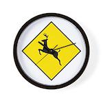 Deer Crossing Sign - Wall Clock