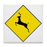 Deer Crossing Sign - Tile Coaster