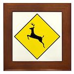 Deer Crossing Sign - Framed Tile