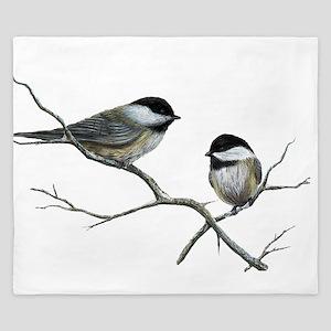 chickadee song birds King Duvet