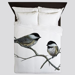 chickadee song birds Queen Duvet