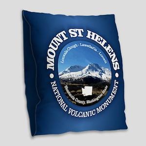 Mount St Helens Burlap Throw Pillow