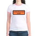 Construction Zone Sign Jr. Ringer T-Shirt