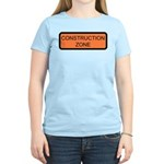Construction Zone Sign Women's Pink T-Shirt
