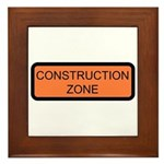 Construction Zone Sign - Framed Tile