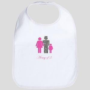 Army of 3 (baby girl) Bib