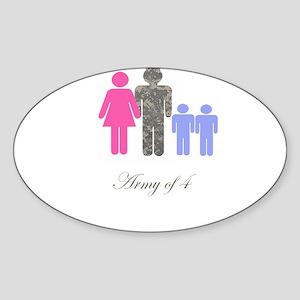 Army of 4 (2 boys) Oval Sticker