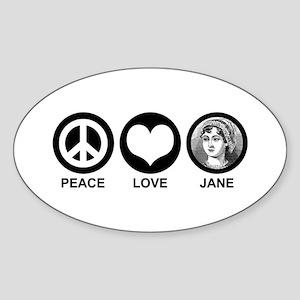 Peace Love Jane Oval Sticker