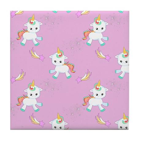 Baby Unicorns On Pink Tile Coaster