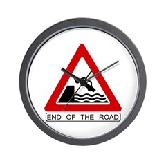 End of the Road sign - Wall Clock