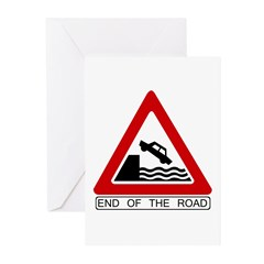 End of the Road sign - Greeting Cards (Package of