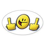 Smiley Fingers Oval Sticker