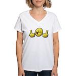 Smiley Fingers Women's V-Neck T-Shirt