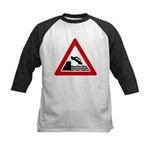 Cliff Warning Sign Kids Baseball Jersey