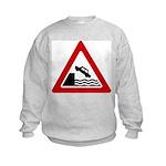 Cliff Warning Sign Kids Sweatshirt