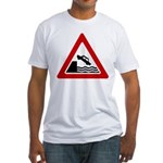 Cliff Warning Sign Fitted T-Shirt