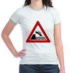 Cliff Warning Sign Jr. Ringer T-Shirt