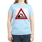 Cliff Warning Sign Women's Pink T-Shirt