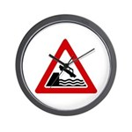Cliff Warning sign - Wall Clock