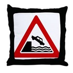 Cliff Warning sign - Throw Pillow