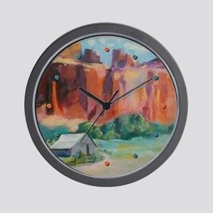 Barn on Mountainside Wall Clock