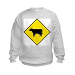 Cattle Crossing Sign Kids Sweatshirt
