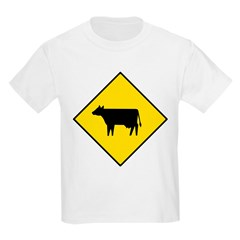 Cattle Crossing Sign Kids T-Shirt