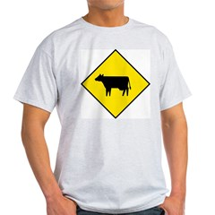 Cattle Crossing Sign Ash Grey T-Shirt