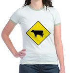 Cattle Crossing Sign Jr. Ringer T-Shirt