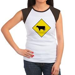 Cattle Crossing Sign Women's Cap Sleeve T-Shirt