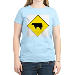Cattle Crossing Sign Women's Pink T-Shirt