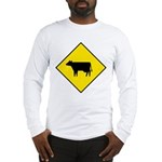 Cattle Crossing Sign Long Sleeve T-Shirt