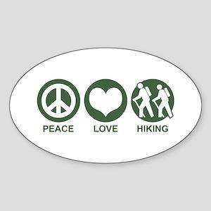 Peace Love Hiking Oval Sticker