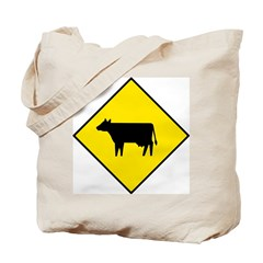 Cattle Crossing Sign - Tote Bag